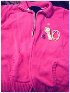 pink rll sweater